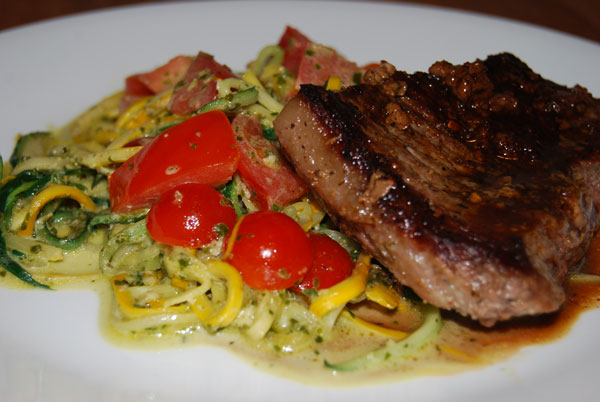 Steak and Zuchinni/Tomatoes with pesto cream sauce