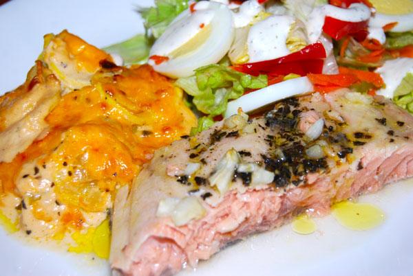 Salmon with squash gratin
